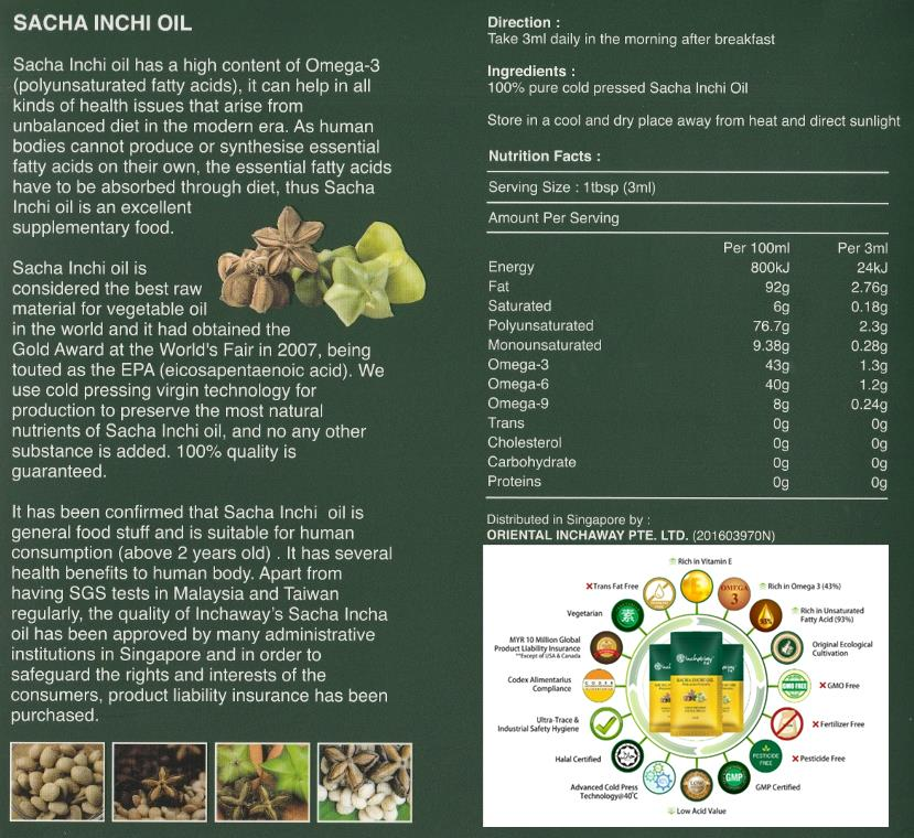 Sacha Inch Oil Nutrition Facts